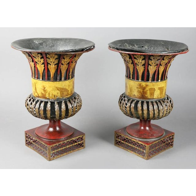 Metal Pair of Regency Tole Urns For Sale - Image 7 of 11