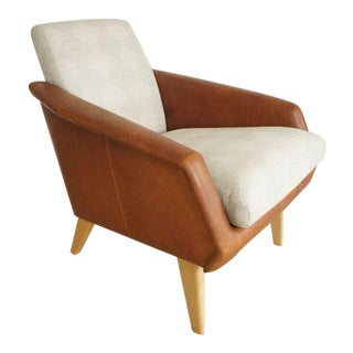 West Elm Mid-Century Style Leather Armchair For Sale