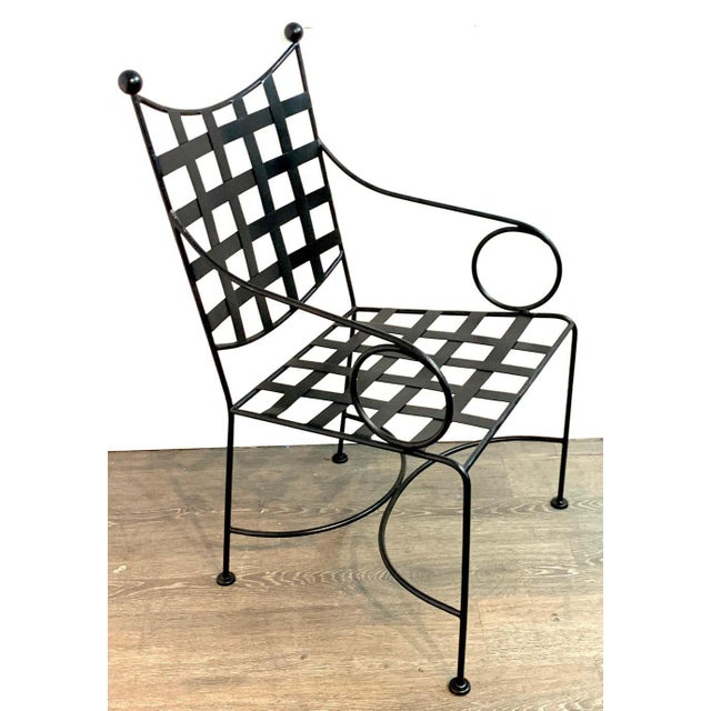 Salterini Salterini Style Woven Wrought Iron Patio Armchairs - a Pair For Sale - Image 4 of 7