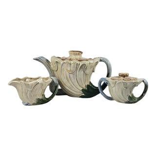 Vintage Fitz & Floyd Art Nouveau Pearly Iridescent Teapot, Sugar Bowl and Creamer Set - 5 Piece Set For Sale