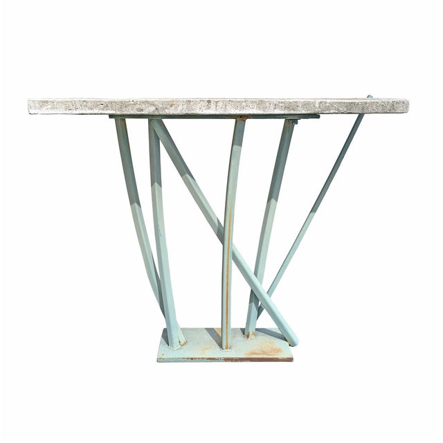 Iron and Cast Stone Console Table by Joseph Wesner For Sale - Image 13 of 13