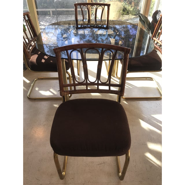 1970's Brass & Rattan Smoked Glass Dining Set - Image 6 of 7