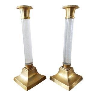 Vintage Lucite & Brass Candlesticks, a Pair For Sale