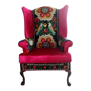 Bohemian Chair, Suzani Embroidery, Claw & Ball Feet, Georgian Style, Pink Velvet