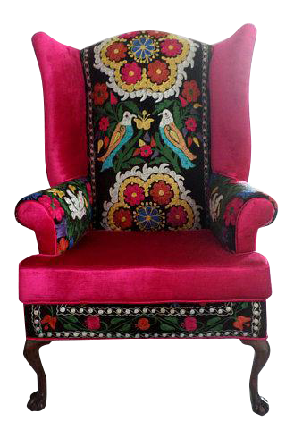 The Endless Love Chair, Bohemian Chair, Suzani Embroidery, Claw U0026 Ball Feet,