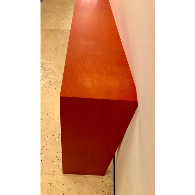 Faux Paint Decorated Pier Console or Wooden Bench in Dark Orange Paint For Sale - Image 4 of 9