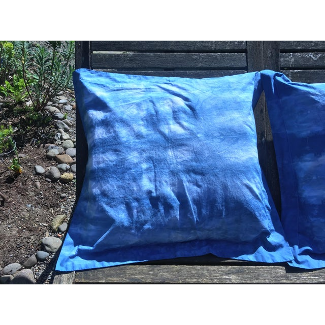 Blue & White Hand Dyed Indigo Shibori Euro Pillow Shams- Set of 2 For Sale - Image 5 of 6