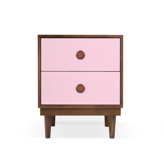 Nico & Yeye Nico & Yeye Lukka Modern Kids 2 Drawer Nightstand Walnut Pink For Sale - Image 4 of 4