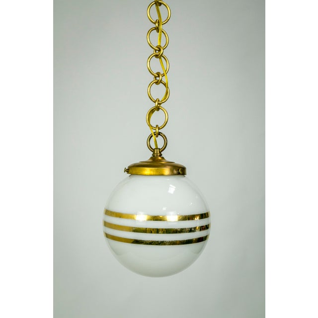 14-Karat Gold Striped Round White Glass Pendants - a Pair For Sale In San Francisco - Image 6 of 9