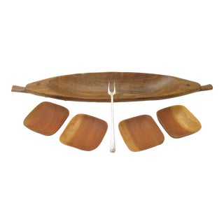 French Teak Hors d'Oeuvres Serving Set - Set of 6 For Sale