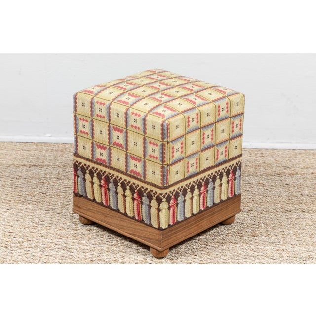 Late 20th Century Vintage Needlepoint Foot Stool For Sale - Image 5 of 8