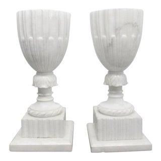 Pair Unique Italian Carrara Marble Urn Lamps For Sale