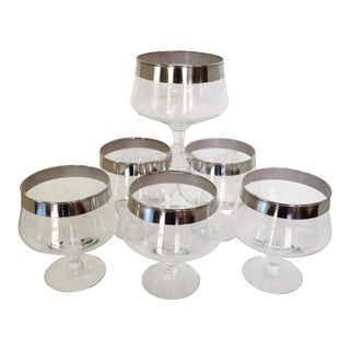 Dorothy Thorpe Silver Rim Cocktail Glasses - Set of 6
