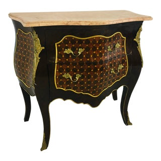 Vintage Marble Top Marquetry Chest For Sale