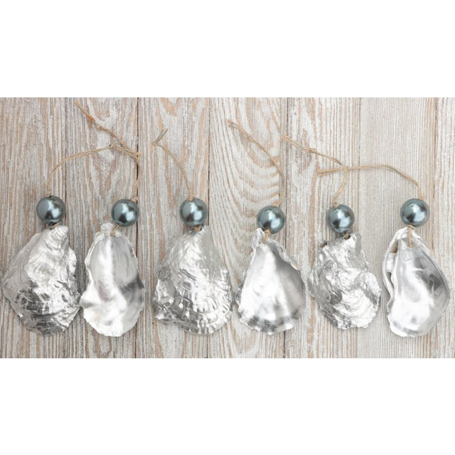 Silver and Pearl Oyster Shell Christmas Ornaments, Set of 6 For Sale - Image 4 of 6