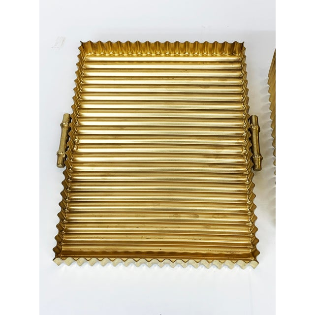 Boho Chic Global Views Brass Corrugated Bamboo Box For Sale - Image 3 of 5