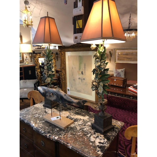 Rococo Romantic Very Tall Carved Wood and Gilded Italian Table Lamps For Sale - Image 3 of 13