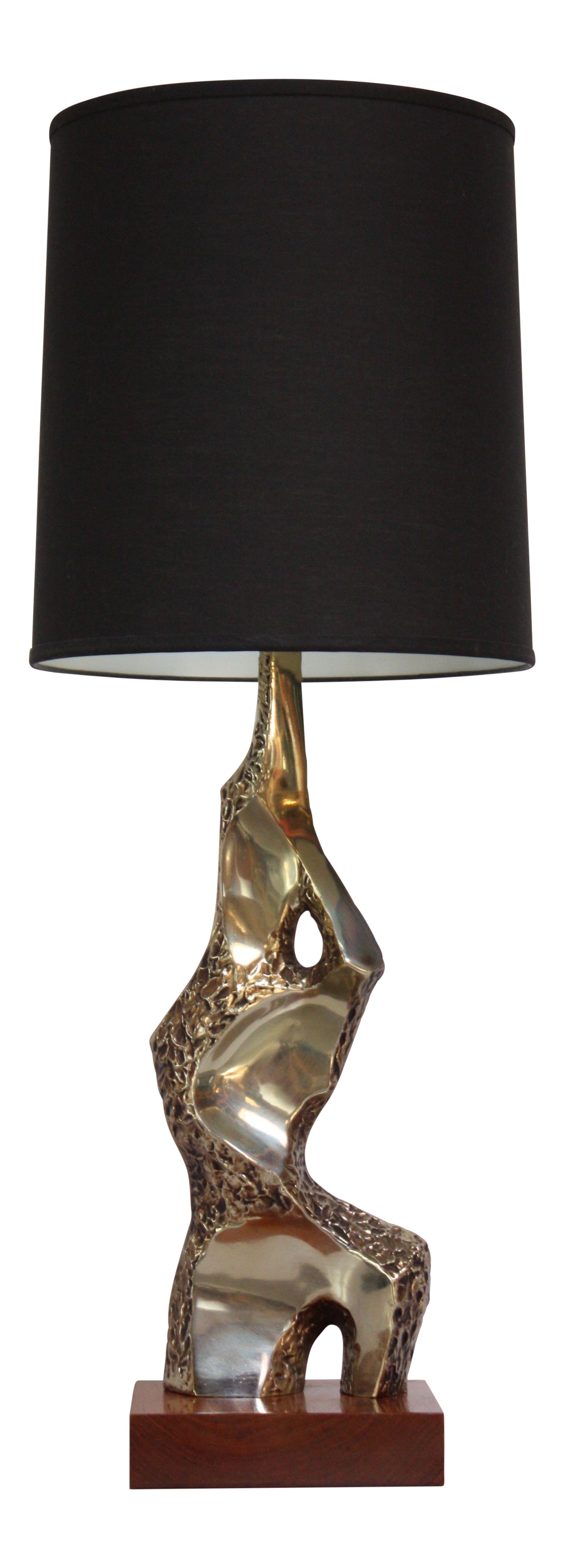 Superb Sculptural Brutalist Brass Table Lamp By Maurizio Tempestini