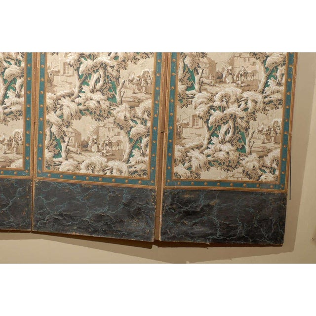French 19th Century Zuber Style Four-Panel Paper on Canvas Screen For Sale - Image 4 of 11
