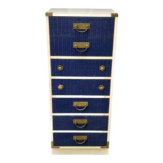 Final Markdown Mid-Century Modern Wicker Blue Wicker Chest of Drawers For Sale