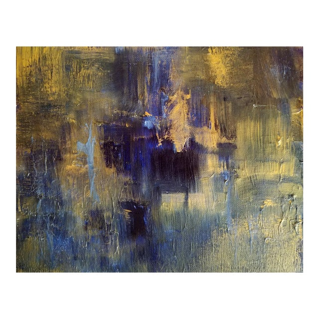Original Abstract Modern Art Painting, Indigo Blue Gold on Metallic Canvas For Sale