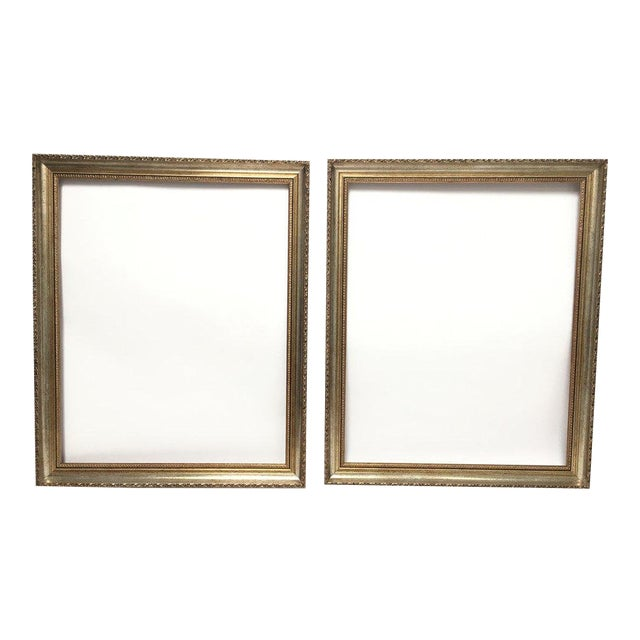 Large 34 X 28 Italian Gold and Silver Giltwood Ornate Wood Frames - a Pair For Sale
