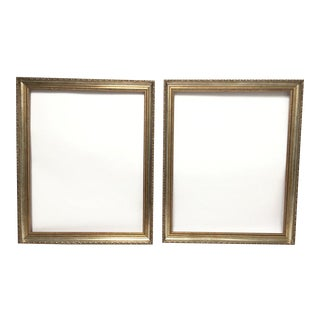 Large Italian Gold and Silver Giltwood Ornate Wood Frames - A Pair For Sale