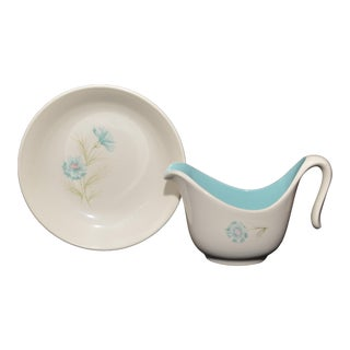"""Taylor Smith Taylor """"Ever Yours Boutonniere"""" Gravy Boat and Bowl"""