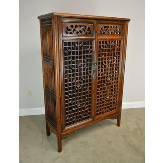 Vintage Chinese Asian Hardwood Fretwork 2 Door Kitchen Vegetable Cabinet Preview