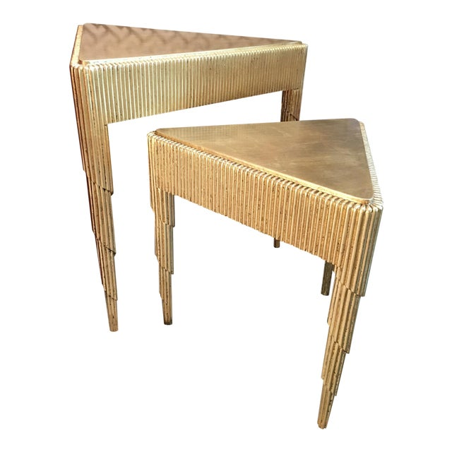 Gold Leaf Nesting Tables - A Pair - Image 1 of 8