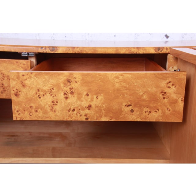 Brown Milo Baughman Burled Olive Wood Sideboard Credenza, Newly Refinished For Sale - Image 8 of 11