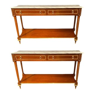Marble Top Russian Neoclassical Consoles Concave Sides and Bronze Mounts a Pair For Sale