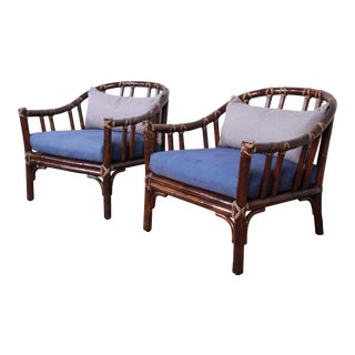 McGuire Hollywood Regency Mid-Century Modern Bent Rattan Lounge Chairs, Pair For Sale