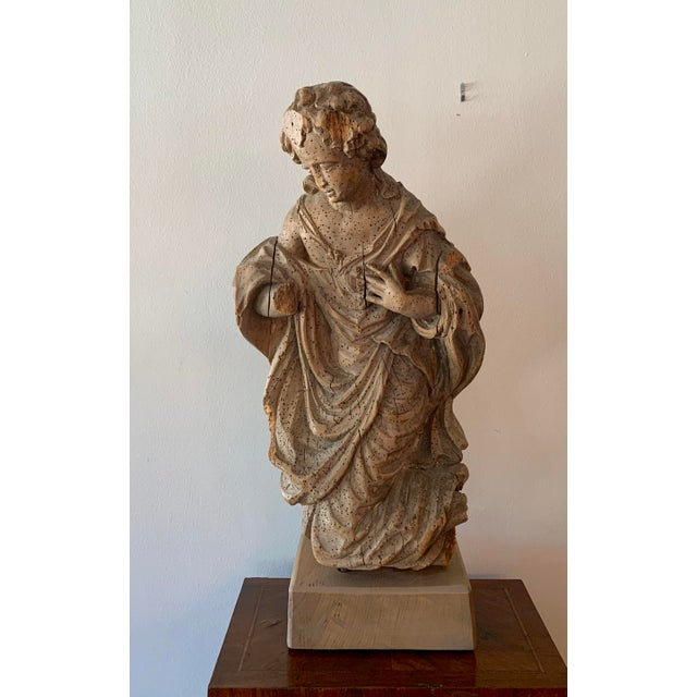 Antique carved architectural figure possibly from a church. This interesting piece is wonderfully constructed and...