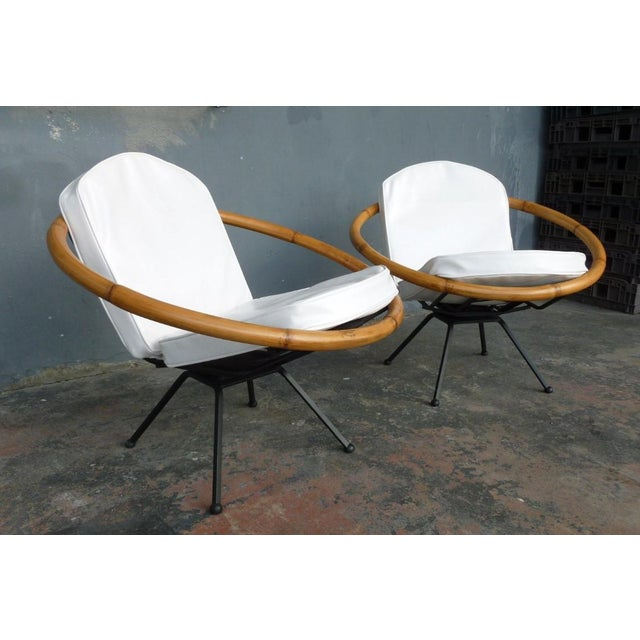 Ritts Tropitan Rare Mid Century Flying Saucer Ritts Tropitan Rattan and Iron Patio Chairs Restored For Sale - Image 4 of 9