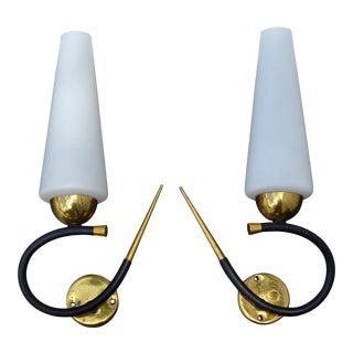 Maison Lunel Sconce Brass Steel & Opaline Shade France Mid-Century Modern - Pair For Sale