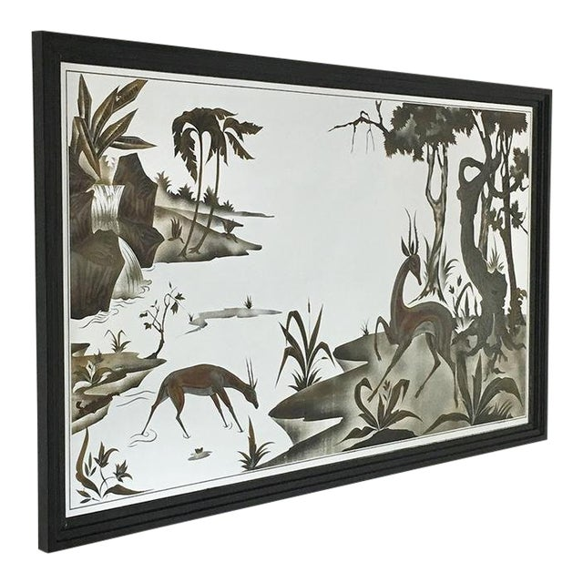 Framed Eglomise Glass Sculptural Wall Panel Circa 1960 For Sale