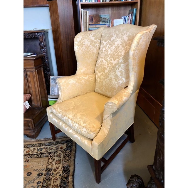 Late 1960s/Early 1970s High End Henredon Quality American Hepplewhite Wing Back Chair. Very well made and with a strong...