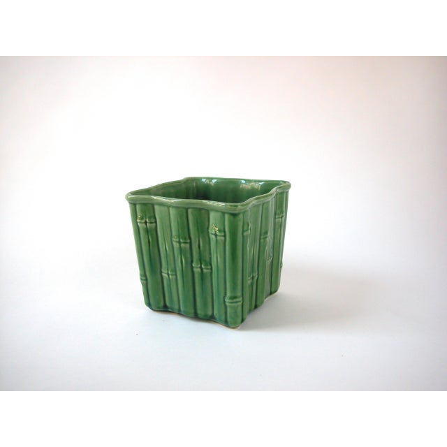 Green Ceramic Bamboo Planter For Sale In New York - Image 6 of 7