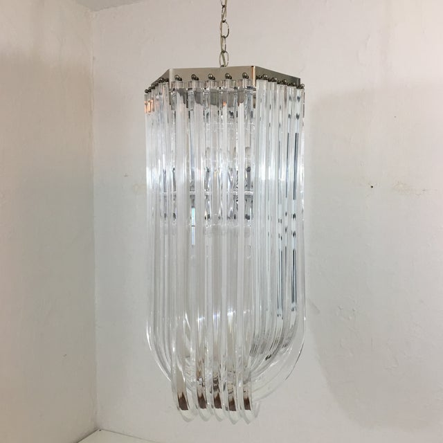 Lucite Ribbon Chandelier For Sale - Image 4 of 10