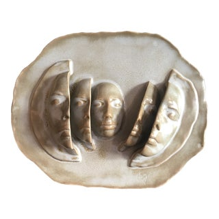 Vintage Modern Sculpted Faces Wall Hanging Art - Signed For Sale