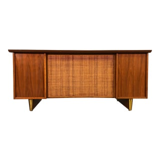 Mid-Century Modern Executive Desk With Cane Front ~ Style of Harvey Probber For Sale