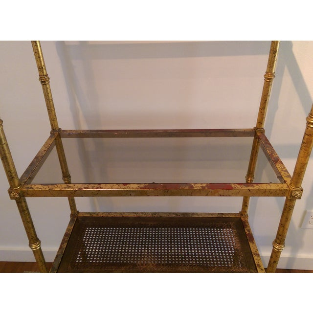 Maison Jansen Hollywood Regency Metal & Glass Etagere - Image 5 of 7