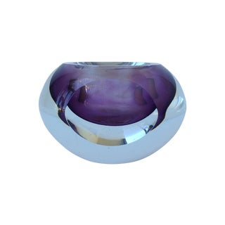 Italian C.1970's Murano Sommerso Purple & Clear Faceted Bowl by Flavio Poli For Sale