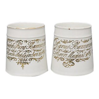1890s Birth Announcement Mugs - Set of 2 For Sale