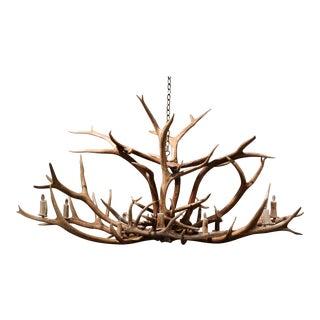Vintage Elk Mule Deer Antler Horn Ten-Light Ceiling Chandelier For Sale
