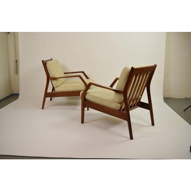 Ib Kofod-Larsen Vintage Ib Kofod Larsen Style Danish Modern Lounge Armchairs - a Pair For Sale - Image 4 of 9