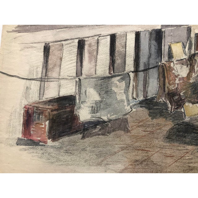 1920s Laundry on the Porch Scene by Olga Silova For Sale - Image 4 of 6