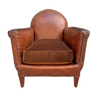 1920s Vintage French Art Deco Leather Club Chair For Sale