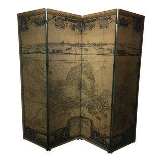 """""""Le Siege D' Arras"""" 19th Century Four-Panel Screen"""